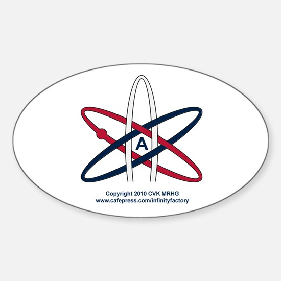 Atheist Symbol RWB Sticker (Oval)