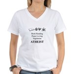 Book Peace Vegetarian Atheist Women's V-Neck T-Shi