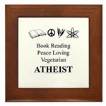 Book Peace Vegetarian Atheist Framed Tile