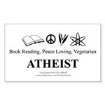 Book Peace Vegetarian Atheist Sticker (Rectangle)