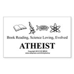 Book Science Evolved Atheist Sticker (Rectangle 10