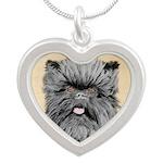 Affenpinscher Silver Heart Necklace