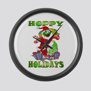 Froggy Claus Large Wall Clock