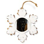 black cat on the stairs Rustic Snowflake Ornament