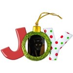 black cat on the stairs Joy Ornament