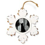 Kitten in Window Rustic Snowflake Ornament