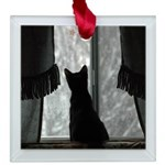 Kitten in Window Square Glass Ornament