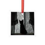 Kitten in Window Square Glass Ornament