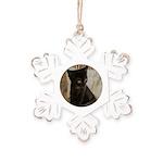 Little Black Kitten Rustic Snowflake Ornament