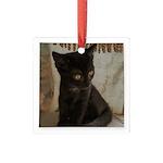 Little Black Kitten Square Glass Ornament