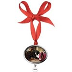 Kitten and Red Hat Oval Year Ornament