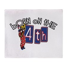 Born on the 4th Clown Throw Blanket