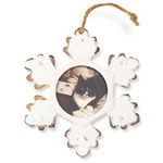 Get Well Soon Cat Rustic Snowflake Ornament
