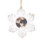 Get Well Soon Cat Rustic Snowflake Ornament