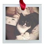 Get Well Soon Cat Square Glass Ornament