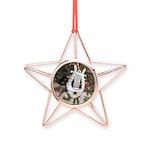Christmas Tree Kitten Copper Star Ornament