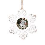 Christmas Tree Kitten Rustic Snowflake Ornament