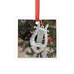 Christmas Tree Kitten Square Glass Ornament