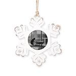 Cool Cat Rustic Snowflake Ornament