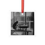 Cool Cat Square Glass Ornament