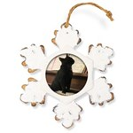 Piano Kitty Rustic Snowflake Ornament