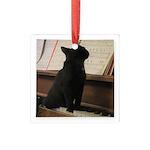 Piano Kitty Square Glass Ornament