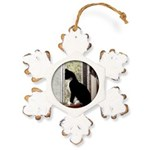 Kitty in Window pt. 5 Rustic Snowflake Ornament