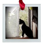 Kitty in Window pt. 5 Square Glass Ornament