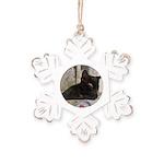 Sleepy Kitty Rustic Snowflake Ornament