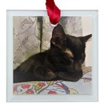 Sleepy Kitty Square Glass Ornament