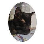 Sleepy Kitty Oval Ornament