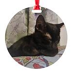 Sleepy Kitty Round Ornament