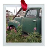 Farm Truck with flowers Square Glass Ornament