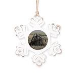 Wagon Wheel Morning Rustic Snowflake Ornament