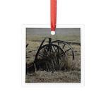 Wagon Wheel Morning Square Glass Ornament