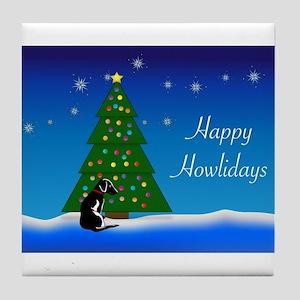 Black Dog Happy Howlidays Tile Coaster