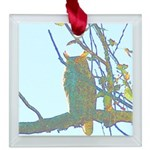 Psychedelic Owl Square Glass Ornament