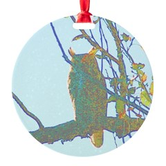 Psychedelic Owl Round Ornament