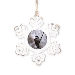 Chickadee Winter Rustic Snowflake Ornament