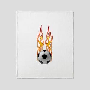 Soccer fire Throw Blanket