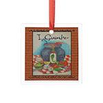"""I Gumbo"" Square Glass Ornament"