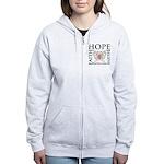 Hope Believe Uterine Cancer Women's Zip Hoodie