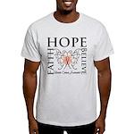 Hope Believe Uterine Cancer Light T-Shirt