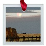 Prairie Moonscape Square Glass Ornament