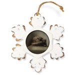Cat Lounge Rustic Snowflake Ornament