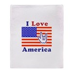ILY America Flag Throw Blanket