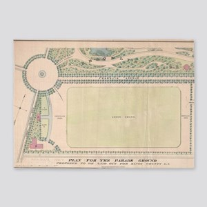 Vintage Map of Prospect Park (1868) 5'x7'Area Rug