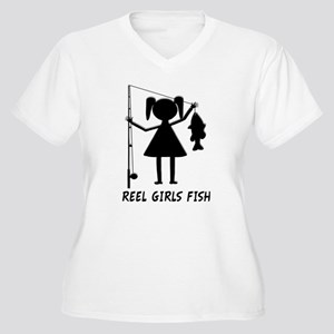 Reel Girls Fish Women's Plus Size V-Neck T-Shirt