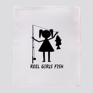 Reel Girls Fish Throw Blanket