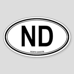 North Dakota (ND) euro Oval Sticker